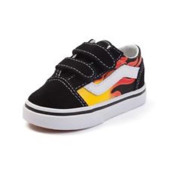 Vans Shoes | Flame Velcro Baby Vans